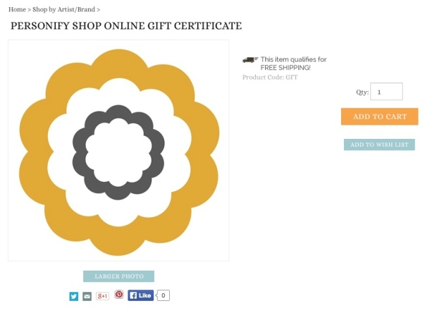 Personify Shop online gift certificate